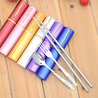 aluminum cutlery - Vinatage korean dinnerware Portable outdoor cutlery sets stainless steel fork spoon chopsticks Aluminum alloy containers storage