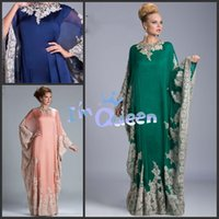 dubai - Appliques Arabic Kaftan Evening Prom Dresses Beaded Arabic Abaya Dubai Elegant A Line Evening Dresses With Long Sleeves Mother of the Bride