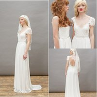 Cheap 2015 Boho Beach Chiffon A-Line Lace Wedding Dresses Sheer Applique V-Neck Bare Backless Capped Sleeves Bridal Gowns Chiffon Sweep Train