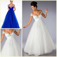 Wholesale Off Shoulder Party Dresses Women Summer Dress Sparkly Crystal Blue White Cheap Wedding Gowns Grils Graduation Dresses Formal Gowns ZC