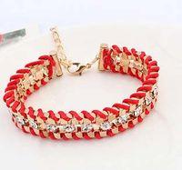 Wholesale Big discount Women star style Candy Color Bracelets bangles Gold Alloy Bracelet for women Chunky Chain Bracelets