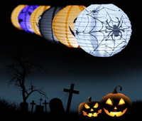 halloween decoration - LED Halloween Pumpkin Lights Lamp Paper Lantern Spiders Bats Skull Pattern Decoration LED Battery Bulbs Ballons Lamps for Kids