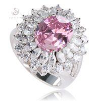 Wholesale Romantic Pink CZ Cubic Zirconia fashion Vintage Silver Plated Ring R461 sz cute