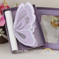 baptism invitations - 3d scroll Butterfly laser cutting Wedding invitation card With Purple Luxury Buckle baptism invitations