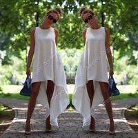 white maxi dress - 2015 New Stylish Lady Women s Sleeveless O Neck Casual Asymmetric Hem Loose Dress SV019046