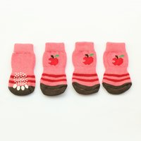 apple accessory store - Armi store Red Apple Striped Pink Pet Warm Latex Skid Proof Dog Socks L Size For Dogs Clothing