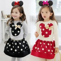 Wholesale Hot Sale kids cartoon sets baby girls bow polka dot outfits children long sleeve t shirt skirt suits spring clothing garment TO01