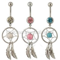 Wholesale 316L Dream Catcher Navel Ring Feather Belly Button Ring Silver Color Body Piercing Jewelry