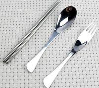Wholesale Stainless Steel Cutlery Set Wholesale - 1Set=3pcs ECO Friendly Spoon Fork Chopsticks Stainless Steel Cutlery Set Travel Camping Picnic Necessity Kit Portable Tableware 8 Colors
