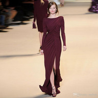 free shipping t-shirt - Elie Saab For Sale Purple Elegant Brilliant Split Prussian Black Ruched Scoop Long Sleeve Open Back Dress Gown Evening Dresses