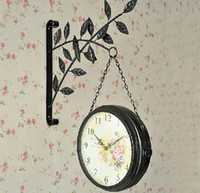 beautiful environment - Metal Double Face Wall Clock Made By Environment friendly Materials Beautiful Leaves Slient Movement