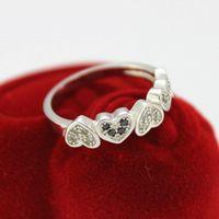 Cheap Silver Rings Best Women Black CZ Diamond