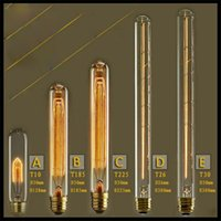 Wholesale 110 v or v Vintage Test tube W E27 Incandescent Tubular Edison Light Bulb T10 T185 T225 T300 tungsten filament bulbs long short