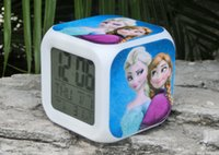 Wholesale Frozen LED Digital clocks customizable clock Anna and Elsa Colorful Glowing alarm Clock Thermometer best Christmas gifts toys