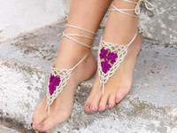 anklet sizes - 2015 New Fashion Beach Party Anklets Cheap in Stock Free Size Barefoot Bridal Sandals Lace up Foot Decoration Fashion Crochet Jewelery