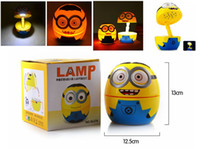 achat en gros de lampe minions-VENTE CHAUDE pliables 3D Cartoon Minions 16 LED White Light Table Lamp Night Light avec US Plug Livraison gratuite DHL