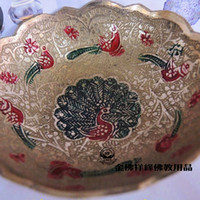 Wholesale Nepal handmade painted copper compote bowls for Buddhist Tibetan Buddhism supplies supplies for the number plate