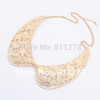 beaded collar necklace pattern - 2015 Top Fashion Trendy Collares New Fashion Exquisite Pattern Metal Fake Collar Pendant Statement Necklace Jewelry Factory Cost