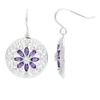 Wholesale Natural Amethyst White Topaz Solid Sterling Silver Filigree Flower Earrings For Womens Jewelry Gift