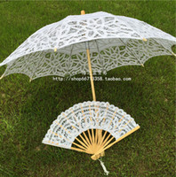 lace parasol umbrella - Vintage Princess Wedding Lace Parasol and Fan Umbrella New Arrival Cheap White Ivory Color Lace Wedding Fans