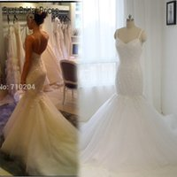 Cheap New Model Sweetheart Neckline Lace Appliques Mermaid Wedding Dresses 2016 Real Photo