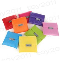 Wholesale mixed Candy color Japan Folded Baggu Reusable Eco Friendly Shopping Tote Bag pouch Environment Safe Go Green