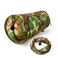 Wholesale Pet Cat Play Tunnel Camouflage Color Funny Cat Long cage Kitten Play Toy Collapsible Bulk Cat Toys PlayTunnel With bell Ball
