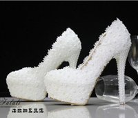 Wholesale new wedding shoes bride pearl diamond lace white high heeled women wedding shoes
