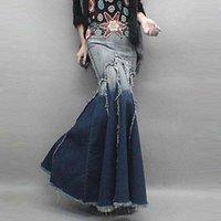Plus Plissé Sexy Fashion Vintage Plissé Tassel Mermaid Fishtail Long Denim Maxi jupes / Bohemia Sun Jeans Jupe longue pour les femmes