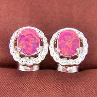 gemstone earrings - Pairs Fashion Jewelry Rose Oval Fire Opal Crystal Gemstone Sterling Silver Plated USA Stud Wedding Earrings