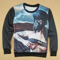 Cheap new autumn men women sweatshirts 3D print naked woman fighter with gun novelty printing pullover hoodies