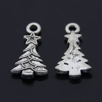 Wholesale jewelry pendant charm Jewelry Accessory Floating Charm Locket Vintage alloy antique silver women x10mm xmas tree charm YSH0236