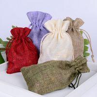 Wholesale 100 Pc Linen Bags Jute Sack Gunny Burlap Pouches Custom Logo Packaging Case Vintage Jewelry Gift Bag Colors