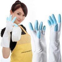latex gloves free powder - Waterproof Keeping Warm Moisturizing Latex Dishwashing Gloves Powder Free Laundry Gloves S M L Colors dandys