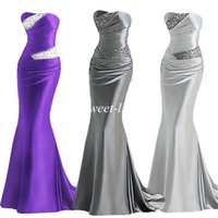 Wholesale 2015 Cheap Prom Dresses Mermaid Sexy In Stock Gray Purple Strapless Corset Elastic Satin Beading Floor Length Evening Gowns Bridesmaid Dress