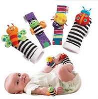 Wholesale Baby socks Baby Rattle Socks sozzy Wrist rattle foot finder Baby toys Lamaze Wrist Rattle Foot baby Socks D64