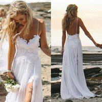 Wholesale 2015 New Arrival beach Wedding Dress Sexy Hi Lo Lace Front Short Long Back Chiffon Simple Elegant Bridal Gown