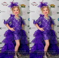 sugar white sugar - High Low Purple Tutu Glitz Little Girl s Lace Pageant Dresses with Half Sleeves Crystal Sugars Short Hi Lo Toddler Girl Cupcake Gowns