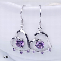 Purple Fashion Women's Fashion 31x15mm Charm Heart W  Amethyst 925 Sterling Silver Earrings Eardrop Dangle Hook Women Ladies Jewelry Accessory Free Shipping SF39*5