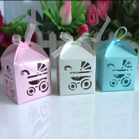 Wholesale Hot Sale Stroller Candy Boxes Pram Baby Shower Shape Cases Wedding Favor Party Gift Box