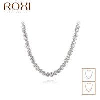 Wholesale ROXI Summer Style Fashion Necklace Jewelry Austrian Crystal Clear Bead Chain Necklaces Gold Plated Jewelry For Women