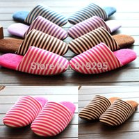Wholesale 2014 new high quality soft bottom floor Stripes cotton slippers Winter home indoor no sound male and female couple flats Shoes