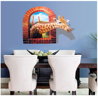 backdrop outlet - New3D effects giraffe matte removable fashion living room backdrop home decor kids room wall stickers factory outlets