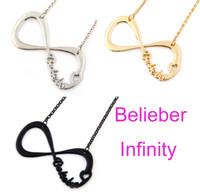 belieber infinity - Hot Justin Bieber JB Belieber Heart Infinity Pendant Necklace Gold Silver Black color Jewelry Gift