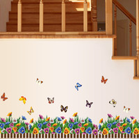 art railings - Flower color butterfly railings DIY Removable Art Wall Stickers Decor Mural Decal AY882
