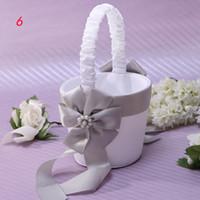 bead basket - Wedding Supplies Flower Girl Baskets wedding basket silver ribbon and bead