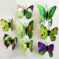wall magnetic - New Arrival D Wall Sticker PVC Butterfly Magnetic Sticker For Home Decoration Room DIY Ornament ZYQ1