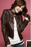 Wholesale 2014 New Womens Fashion Stand Collar Zipper Leather Jackets Coats Hot Sale