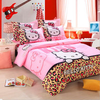 animal print sheet - 100 Cotton Hello Kitty Home textile Reactive Print Bedding Sets Cartoon Bed Sheet Duvet Cover Set Bedding set Colors