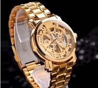 Luxury automatic - lowest whollsale price Automatic mechanical watches high grade male strip GOLD Skeleton Stainless Stee Wrist Watch